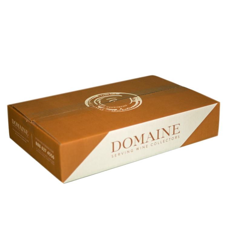 6 Pack Layflat Box – Domaine Cardboard Wine Storage Box – Top and Side Angle